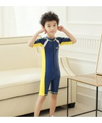Kids Sunscreen Elastic One-Piece Short Sleeve Water Suit – Blue / Yellow,,