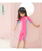 Kids Sunscreen Elastic One-Piece Short Sleeve Water Suit – Pink / Blue,,