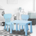 Kids Table and Chair Set Children Plastic Chair and  2 Table — Sky Blue,,