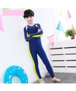 Kids Sunscreen Elastic One-Piece Water Suit - Blue/Yellow,,