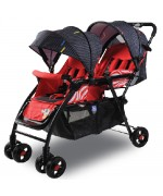 Baby Twin Stroller Gemini 705 Size 51 x 99 x 103 cm Weight 8.9 Kg Max Load 25 Kg — Red,,
