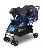 Baby Twin Stroller Gemini 705 Size 51 x 99 x 103 cm Weight 8.9 Kg Max Load 25 Kg — Blue,,
