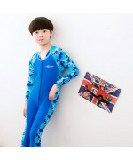 Children's Swimming Suite Long Sleeved Sunscreen One Piece For Boys,,