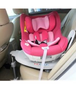 Baby First Baby Seat 0-4 Years Old 360° Rotating Child Seat Isofix Penguin Meng Corps - Magenta,,