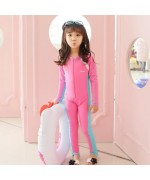 Kids Sunscreen Elastic One-Piece Water Suit - Pink/Blue,,