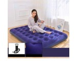 JILONG Inflatable Air Bed Mat Set Size 191 x 137 x 22 cm with Hand Pump and Repair Kit - Dark Blue,,